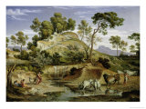 Landscape with Shepherds and Cows and at the Spring, 1832-34 Giclee Print by Joseph Anton Koch