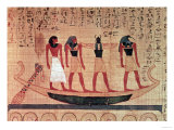 Papyrus, a Man Being Transported on a Barque to the Afterlife by Thoth, Khepri and Another God Giclee Print