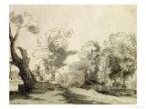 Landscape with a Path, an Almost Dead Tree on the Left and a Footbridge Leading to a Farm Giclee Print by  Rembrandt van Rijn