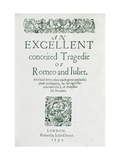 "Title Page from ""Romeo and Juliet"" by William Shakespeare (1564-1616) 1597 Giclee Print"
