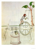 Man Putting into Motion a Wheel-Driven Well Giclee Print by Jacobi Mariani