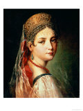 Portrait of a Young Girl in Sarafan and Kokoshnik, 1820s Premium Giclee Print by Mauro Gandolfi