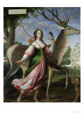 Marie De Rohan-Montbazon (1600-79) Duchess of Chevreuse as Diana the Huntress Giclee Print by Claude Deruet