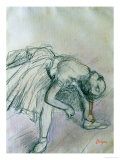 Dancer Fixing Her Slipper Giclee Print by Edgar Degas