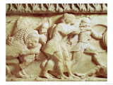 Detail of the North Frieze of the Siphnian Treasury Depicting Gods Fighting Giants, circa 525 BC Giclee Print