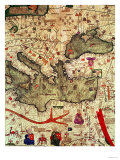 Detail of North Africa &amp; Europe from the Catalan Atlas by Abraham Cresques (1325-87) 1375 Giclee Print