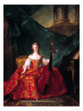Madame Henriette De France (1727-52) in Court Costume Playing a Bass Viol, 1754 Giclee Print by Jean-Marc Nattier