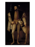 Charles V (1500-58) Holy Roman Emperor and King of Spain with His Dog, 1533 Giclee Print by  Titian