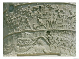 The Roman Army Crossing the Danube, Detail from Trajan's Column, 113 AD (Limestone) Giclee Print