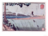 Mount Fuji from the Sumida River Embankment, One of the Views from Edo, circa 1842 Giclee Print by Kuniyoshi