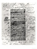 Page from One of Balzac's Works with Handwritten Corrections Giclee Print by Honore de Balzac