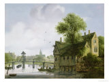 A Town on a River with a Bridge Giclee Print by Wouter Kniff