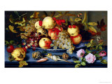 Still Life with Fruit, Flowers and Seafood Reproduction procédé giclée par Balthasar van der Ast