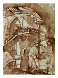 Roman Prison, circa 1744-5 (Pen and Wash over Pencil) Giclee Print by Giovanni Battista Piranesi