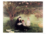 Beneath the Lilac at Maurecourt, 1874 Premium Giclee Print by Berthe Morisot
