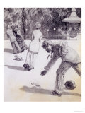 Action from &quot;Paraphrase on the Discovery of a Glove,&quot; Pub. 1881, 1878 (Washed Indian Ink and Pen) Giclee Print by Max Klinger