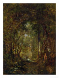 In the Wood at Fontainebleau Giclee Print by Th&#233;odore Rousseau