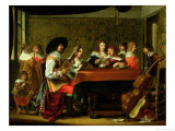 Interior with Musicians and Singers Reproduction procédé giclée par Laurentius de Neter