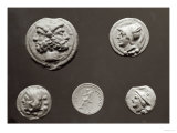 Five Coins Depicting Janus, Jupiter, Mercury and Minerva, 753 BC-476 AD Giclee Print