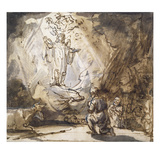 Annunciation to the Shepherds (Pen and Ink on Paper) Giclee Print by  Rembrandt van Rijn