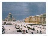 The Isaac Cathedral and the Senate Square in St. Petersburg, 1840s Giclee Print by Paul Marie Roussel