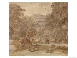 Landscape with Mercury and Apollo as a Shepherd, 1673 (Pen and Brown Tint, Grey Indian Ink Wash) Premium Giclee Print by Claude Lorrain