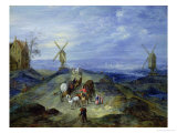 Landscape with Two Windmills, 1612 Giclee Print by Jan Brueghel the Elder
