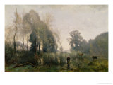 Morning at Ville-D'Arvray Or, the Cowherd, 1868 Premium Giclee Print by Jean-Baptiste-Camille Corot