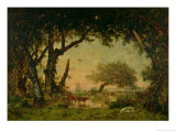 The Edge of the Forest at Fontainebleau, Setting Sun, 1850-51 Giclee Print by Théodore Rousseau