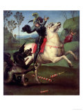 St. George Struggling with the Dragon, circa 1505 Impression giclée par  Raphael