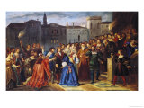 "Scene of Confrontation, from ""Lucretia Borgia"" by Victor Hugo Giclee Print by Louis Boulanger"