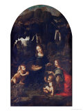 Madonna of the Rocks, circa 1478 Giclée-tryk af Leonardo da Vinci,