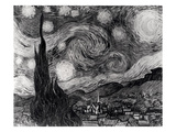 The Starry Night, June 1889 (Black & White) Premium Giclee Print by Vincent van Gogh