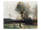 Landscape Or, Morning in the Field Reproduction proc&#233;d&#233; gicl&#233;e par Jean-Baptiste-Camille Corot