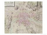 "Karte von Paris und Umgebung, from ""Oisivetes"" Giclée-Druck von Sebastien Le Pretre de Vauban"
