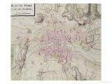 "Map of Paris and Its Surroundings, from ""Oisivetes"" Giclee Print by Sebastien Le Pretre de Vauban"