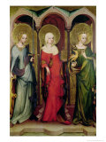 St. Catherine of Alexandria, St. Mary Magdalene and St. Margaret of Antioch, circa 1380 Giclee Print by Master of the Trebon Altarpiece