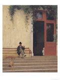 The Artist's Father and Son on the Doorstep of His House, circa 1866-67 Impression giclée par Jean Leon Gerome