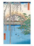 "The Bridge with Wisteria or Kameido Tenjin Keidai, Plate 57 from ""100 Views of Edo,"" 1856 Giclee Print by Ando Hiroshige"
