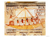 Boatmen on the Nile, from the Tomb of Sennefer, New Kingdom (Mural) Giclee Print