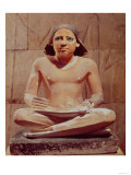 Scribe Seated Holding a Papyrus Scroll, from Saqqara, Old Kingdom circa 2475 BC (Limestone) Giclee Print