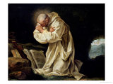 St. Bruno (1030-1101) Praying in the Desert, 1763 Premium Giclee Print by Jean Bernard Restout