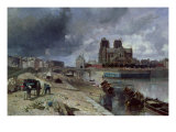 Notre-Dame from the Quai De La Tournelle, 1852 Giclee Print by Johan-Barthold Jongkind