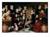The Artist Painting, Surrounded by His Family, 1584 Giclée-Druck von Otto van Veen