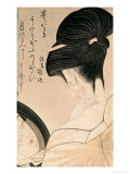 Woman Putting on Make-Up Lmina gicle por Utamaro Kitagawa