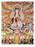 Buddhist Banner Depicting Dizang and the Six Roads to Rebirth, from Dunhuang (Painting on Silk) Giclee Print