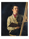 Self Portrait, Sitting Next to an Easel, 1825 Giclee Print by Jean-Baptiste-Camille Corot