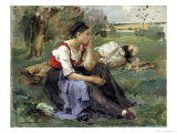 Resting Peasants, 1877 Giclee Print by Jules Bastien-Lepage