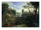 Landscape with Diogenes, 1648  Lmina gicle por Nicolas Poussin