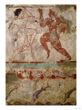 Two Dancers and Dolphins Leaping Through Waves, Frieze from the Tomb of the Lionesses Reproduction procédé giclée